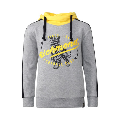 "Primarily grey youth hoodie. High neck yellow hoodie, black drawstrings. Black strips down the sleeves. Black outline drawing of a tiger, over the top text saying ""Richmond football Club"""