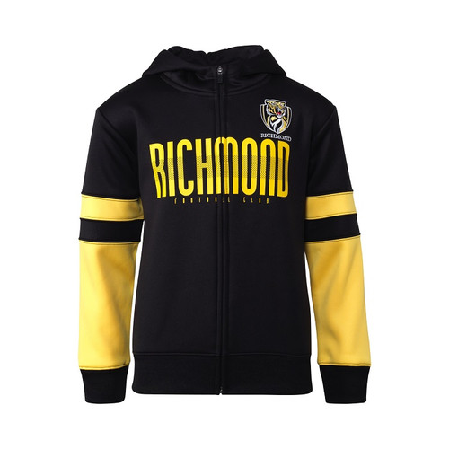 """Black youth hoodie, partial yellow sleeves. Text saying """"Richmond"""" across front of the chest in yellow writing, club logo on the chest."""