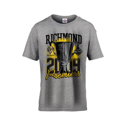 "Grey t-shirt with a premiership print on the front. Text saying ""Richmond 2019 Premiers"""