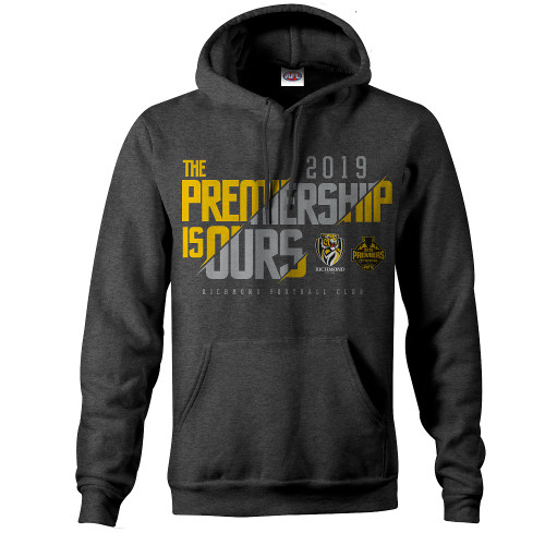 Charcoal grey hoodie with drawstrings. yellow and grey text printed on the front