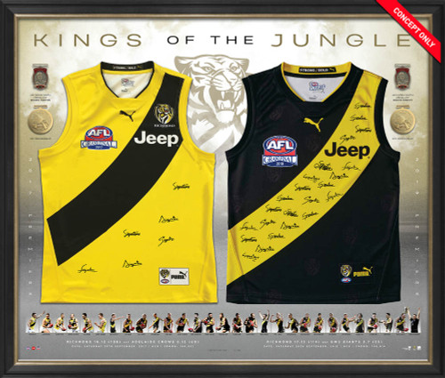 "Large framed memorabilia piece features 2 guernseys: 1 home and 1 away. Signatures from all players and coach from 2017 and 2019 grand final. Words ""Kings of the jungle"" across the top. Includes 2 replica Norm Smith and 2 replica Premiership Medals. Key statistics and player imagery."