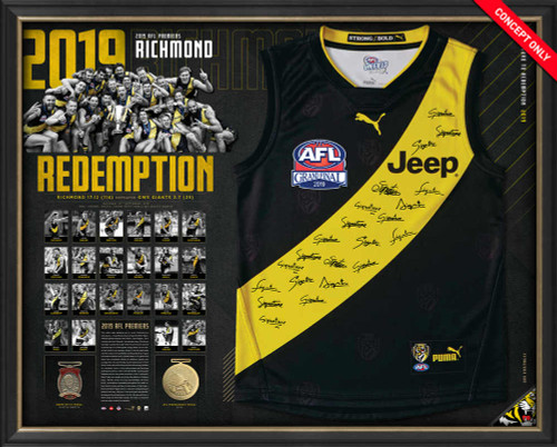 "Home guernsey with coach and player signatures. Text saying ""2019 Richmond Redemption"". Replica Norm Smith and 2019 Premiership medals. Key statistics and player imagery included."