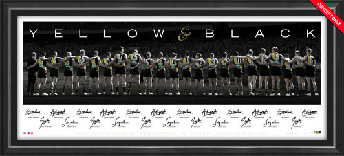 This framed memorabilia piece features imagery of the 2019 Premiership team lined up arm in arm horizontally. Signed by each player and the coach.