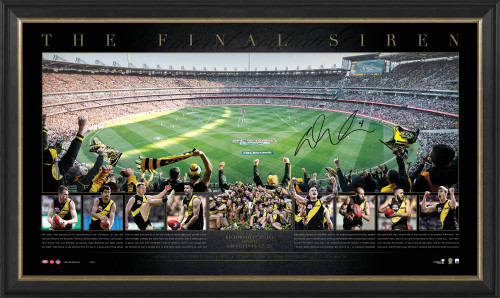 A panoramic of the MCG oval and celebration imagery. Personally signed by Dustin Martin
