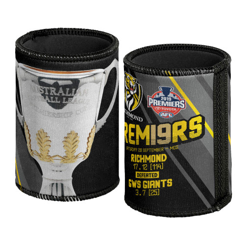 Black can cooler with a grey/silver premiership cup, and in yellow text details of the game (Score, date, teams). It also has the premiership logo. This does not have a bottom on it.