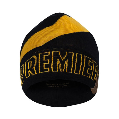 "Soft woollen black beanie with a yellow strip on the head, and yellow outline of text with the word ""PREMIERS19"""