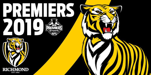 "Flagpole flag featuring team logo, our tiger mascot with a black background and yellow sash. Text saying ""Premiers 2019"""