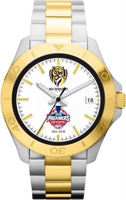 Silver band with gold links. the face is white with club logo and 2019 premiership logo, it also has a gold border.
