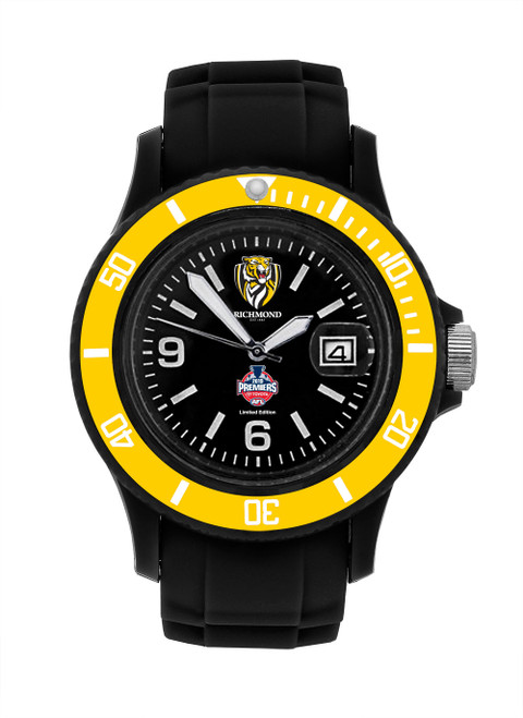 Black band and face with a gold/yellow bracket. On the face it shows the club logo and the Premiership logo.