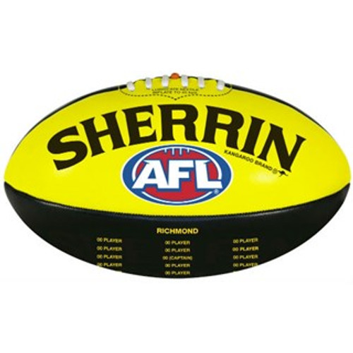 Black and Yellow football with sherrin and the AFL'S Logo printed on it, as well as the 2019 premiership player names. This is an outside ball so it has a rougher surface.