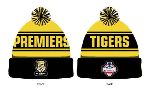 "This beanie has yellow and black strips and in the black strip on the head it has yellow lettering with the word ""TIGERS"" it also has the 2019 Premiership logo patch and a yellow and black pom-pom on the top."