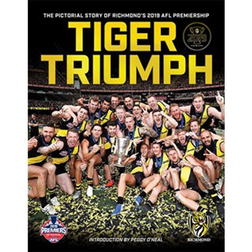 This is a picture book with images from the 2019 Grand Final with small captions and quotes.