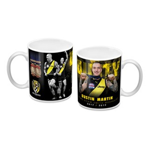 This is a white mug on the inside and handle, and the Dustin Martin imagery has a black background
