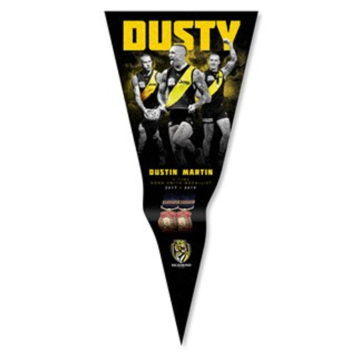 "A black coloured pennant with imagery of Dustin Martin and the name ""MARTIN"" in yellow up the top. It then features the medals he won in his career."