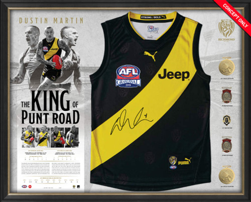 Richmond Tigers - Dustin Martin Signed Guernsey Display 'The King of Punt Road'