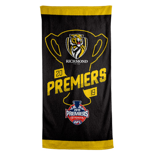 """Black Towel With black silhouette of premiership cup and text in yellow """"Premiers""""."""