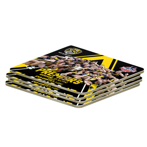 4 coasters all the with a picture with the players holding the premiership cup celebrating with black and yellow design in the background.