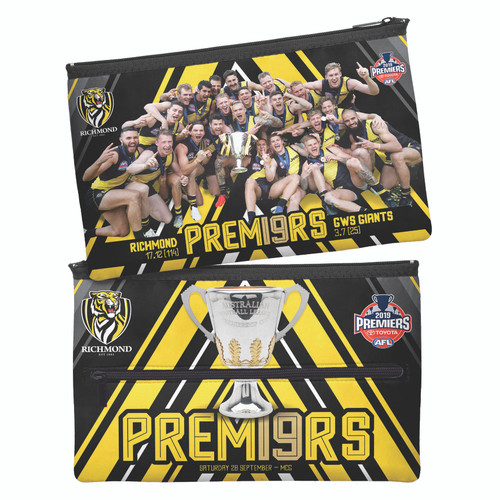 """Black pencil case. 1 side has a image of the players celebrating after the win holding the cup. The other side has yellow detailing with an image of the premiership cup and yellow text saying """"premiers"""""""