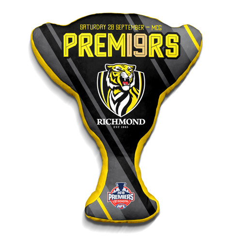 "Black cushion with yellow text saying ""Premiers"" Features the club log."