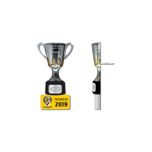 A mini 3D premiership cup with our logo on a pin