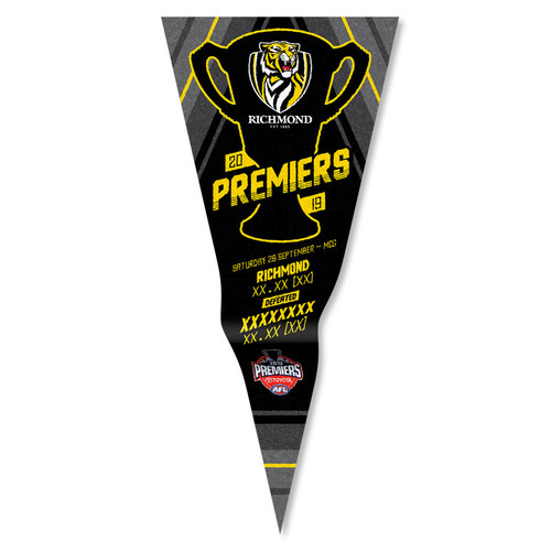 "Black pennant with black silhouette of premiership cup, yellow detailing. yellow lettering ""premiers"""
