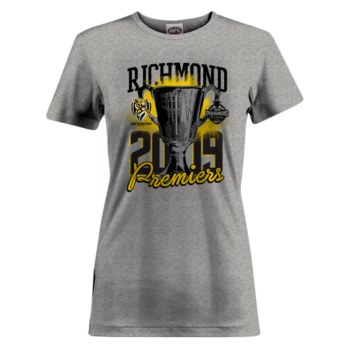 Grey tee shirt with premiership design on the front