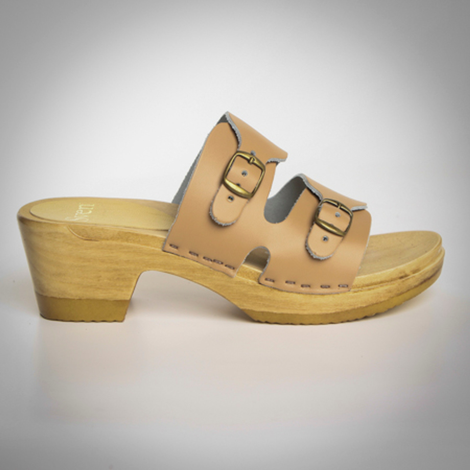 2 Strap Buckle Clogs - Mid Heels