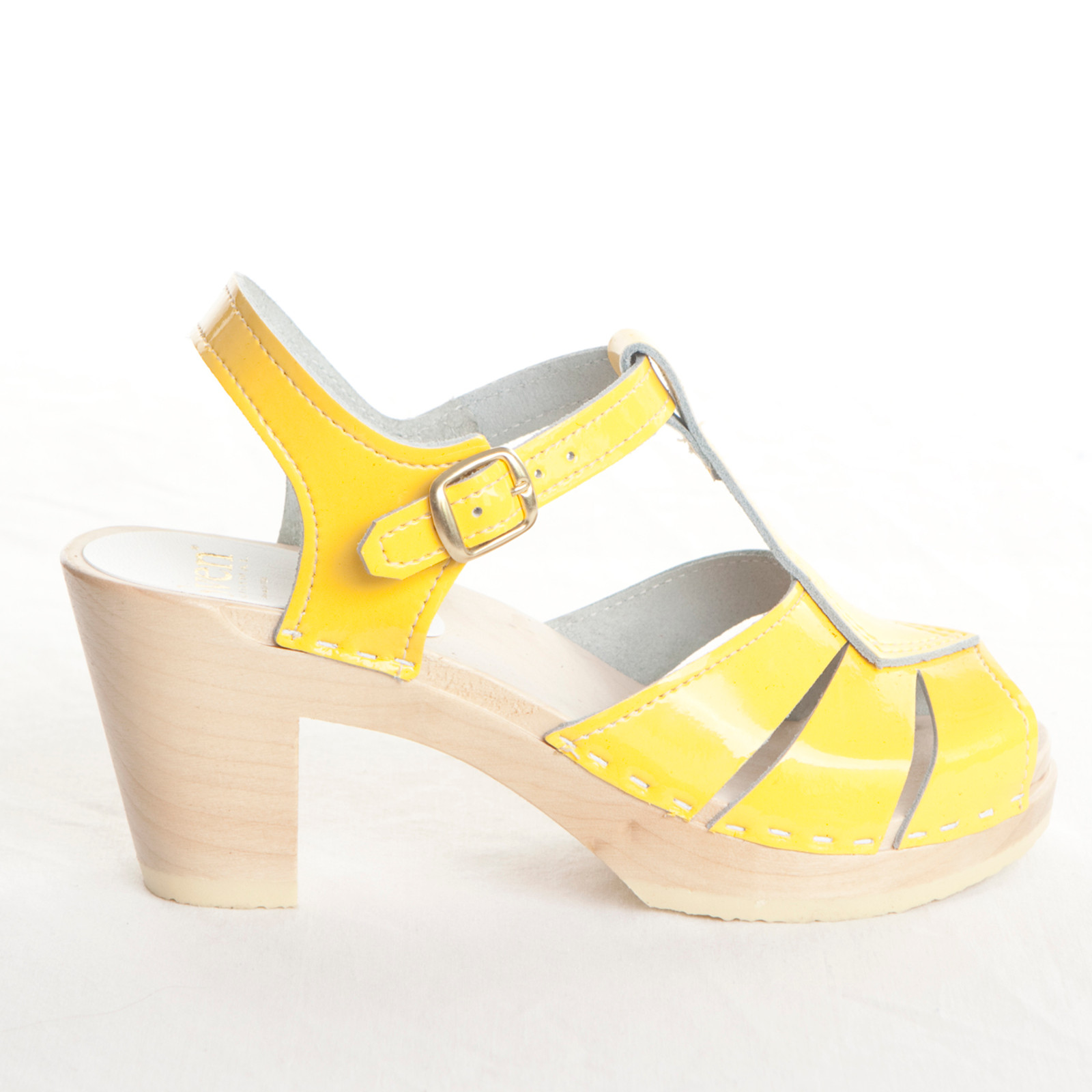 Yellow Patent Leather with Natural Base