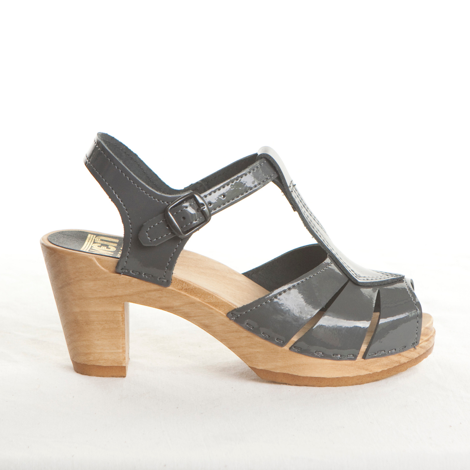 Dark Gray Patent Leather with Brown Base