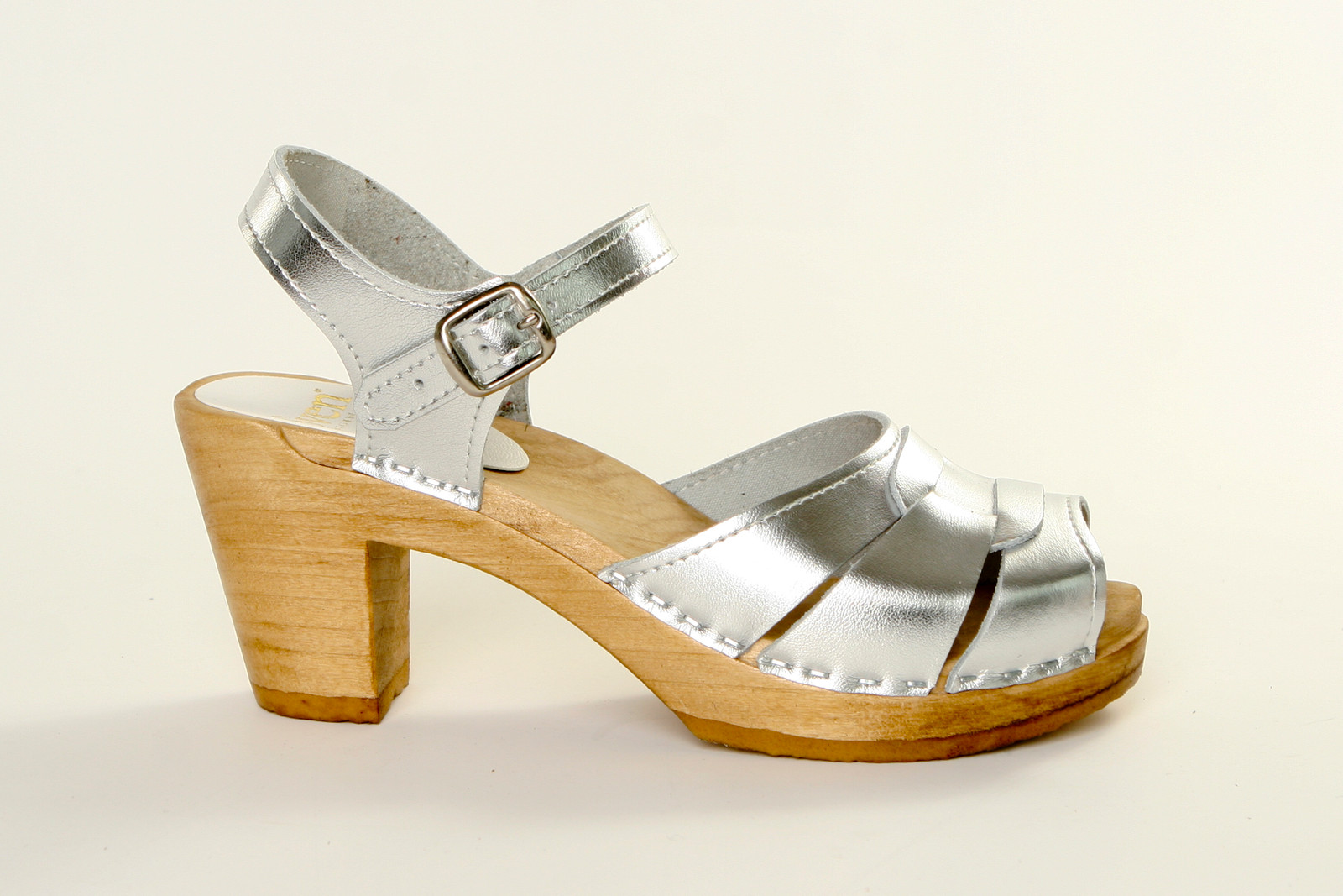 Silver Metallic Leather with Brown Base