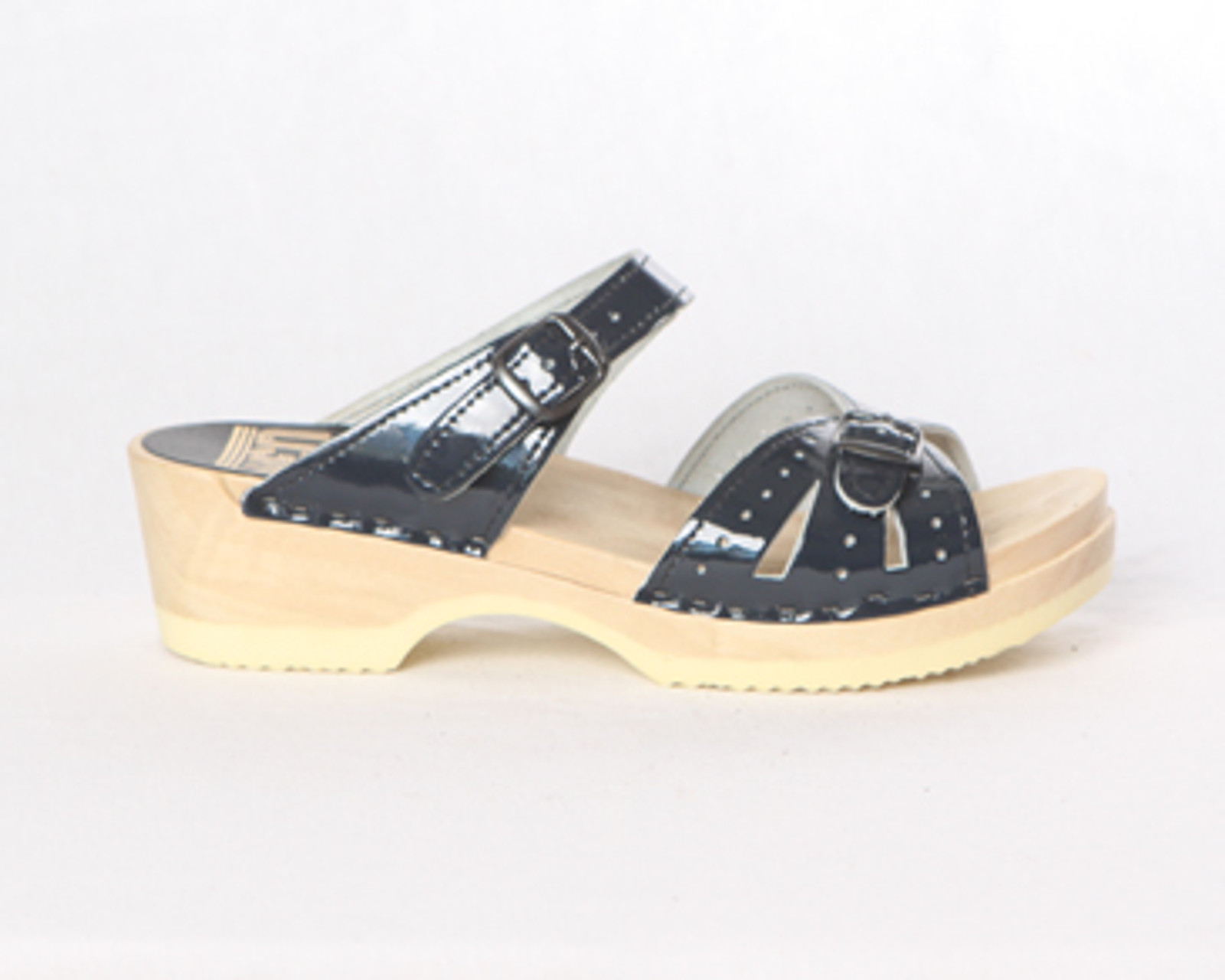 Navy Patent Leather with Natural Base