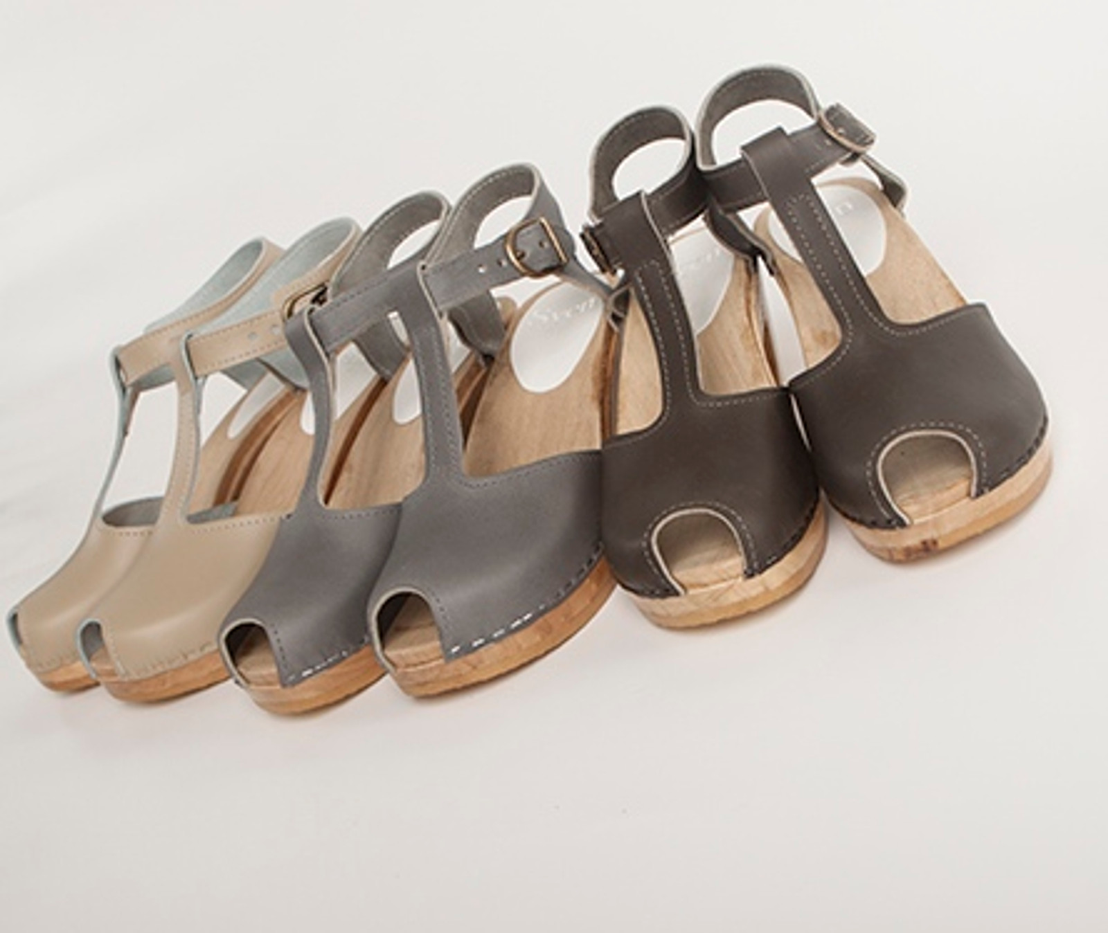 T-Strap Clogs with Peep Toes