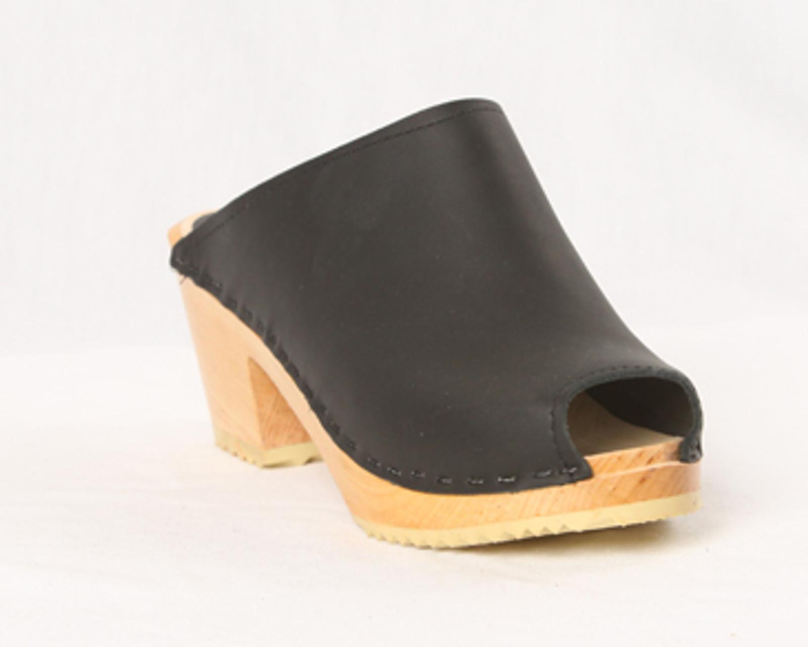 Peep Toe Clogs - Swedish Mid Heels
