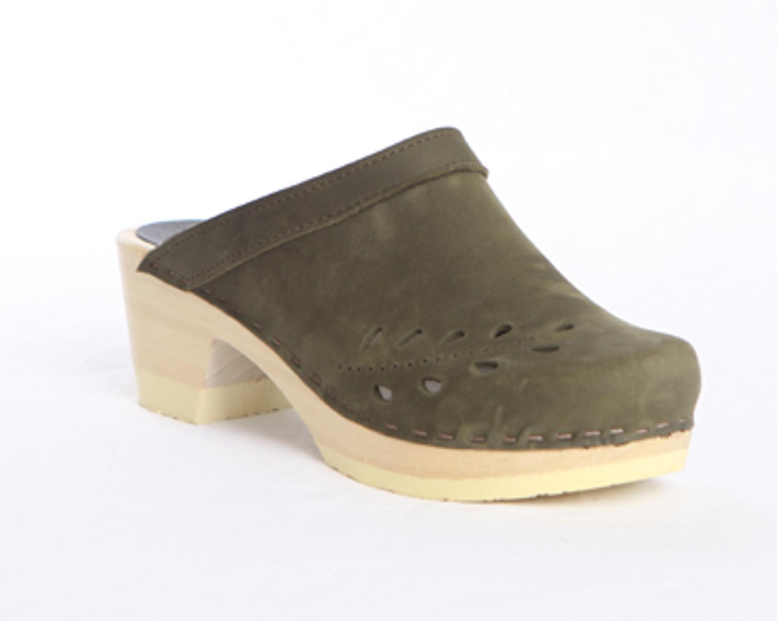 Leaf Punch Clogs - Mid Heels