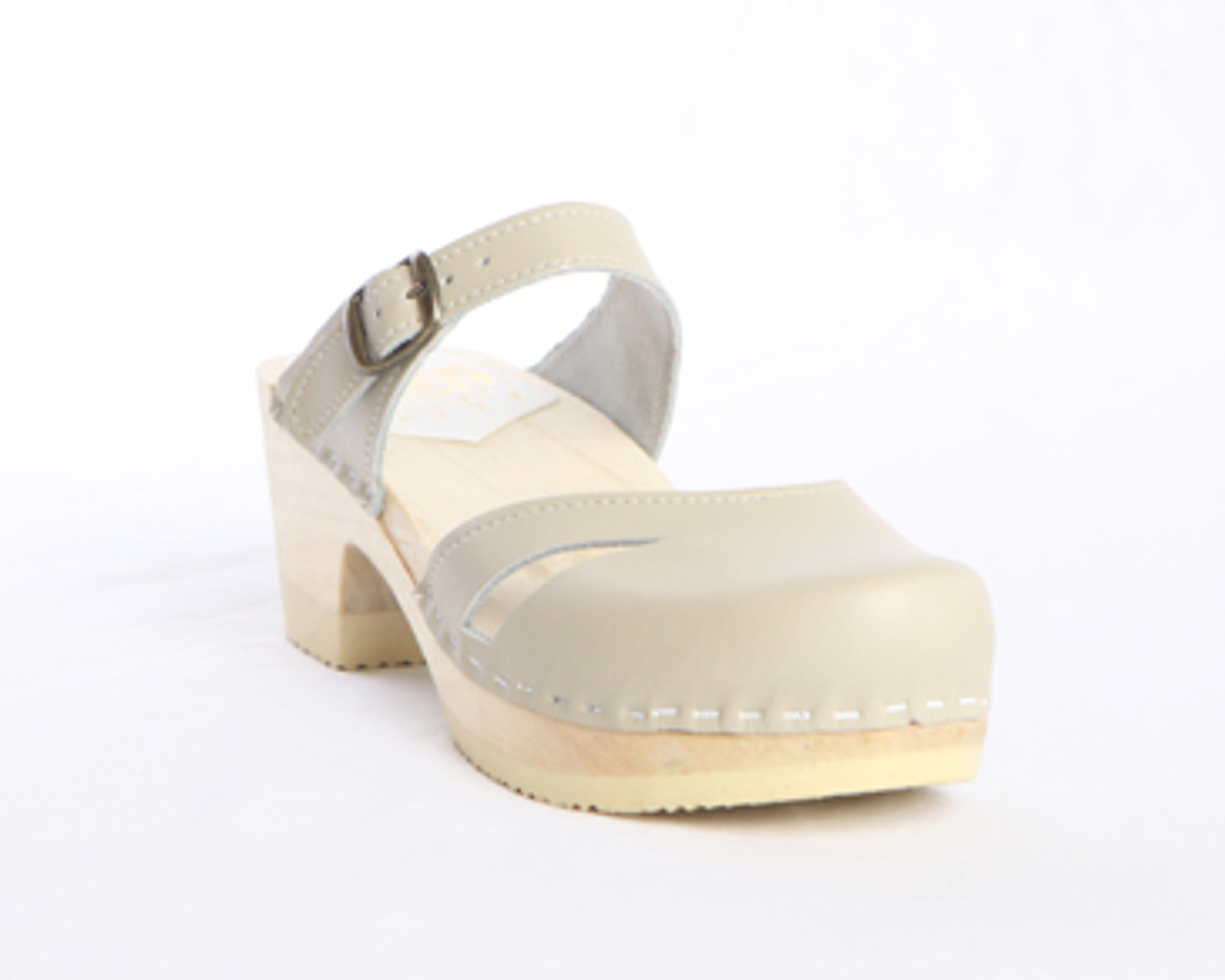 Side Slit Sandal Clogs - Mid Heels