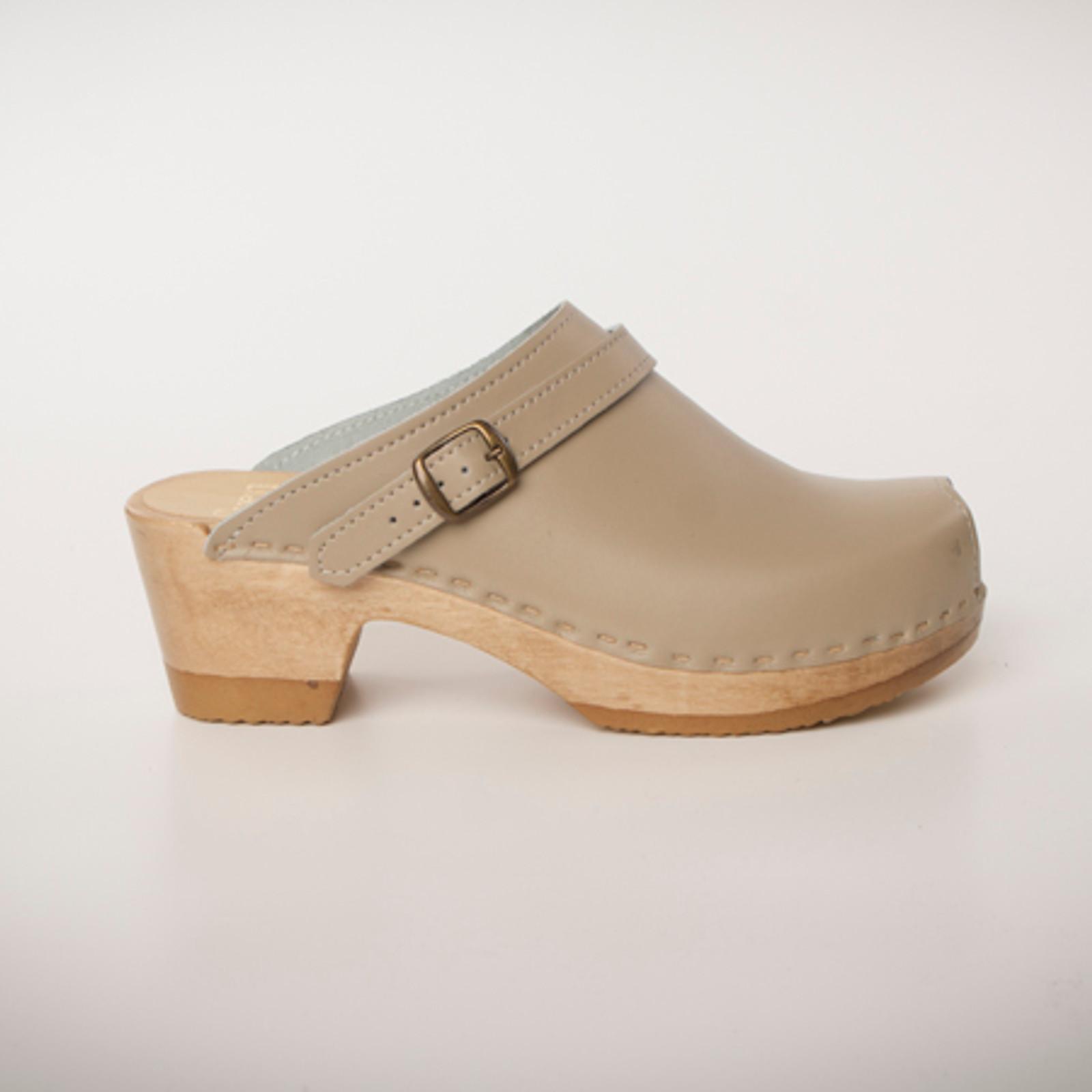 Peep Toe Clogs with Sling - Mid Heels