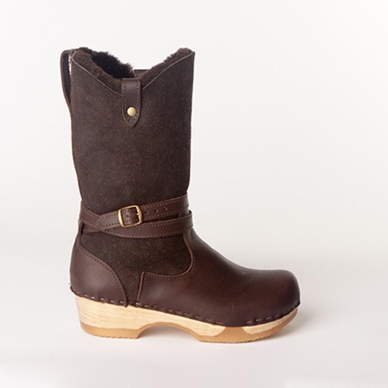 "Lisa - 11"" Shearling Boots - Bendable Low Heel"
