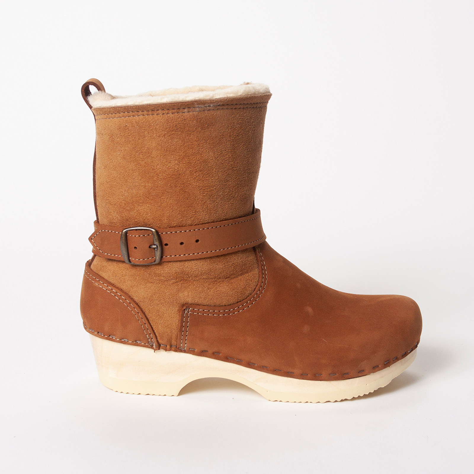 "7"" Shearling Clog Boots - Low Heel"