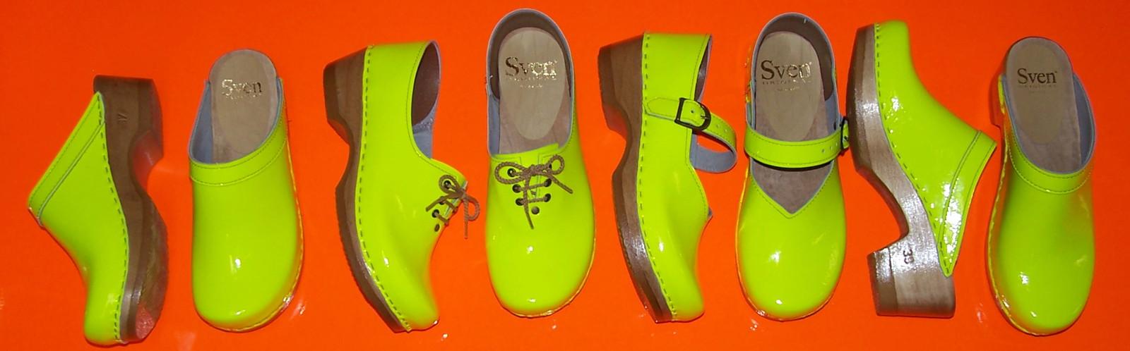 Neon Orange - Plain Clogs - Low Heels