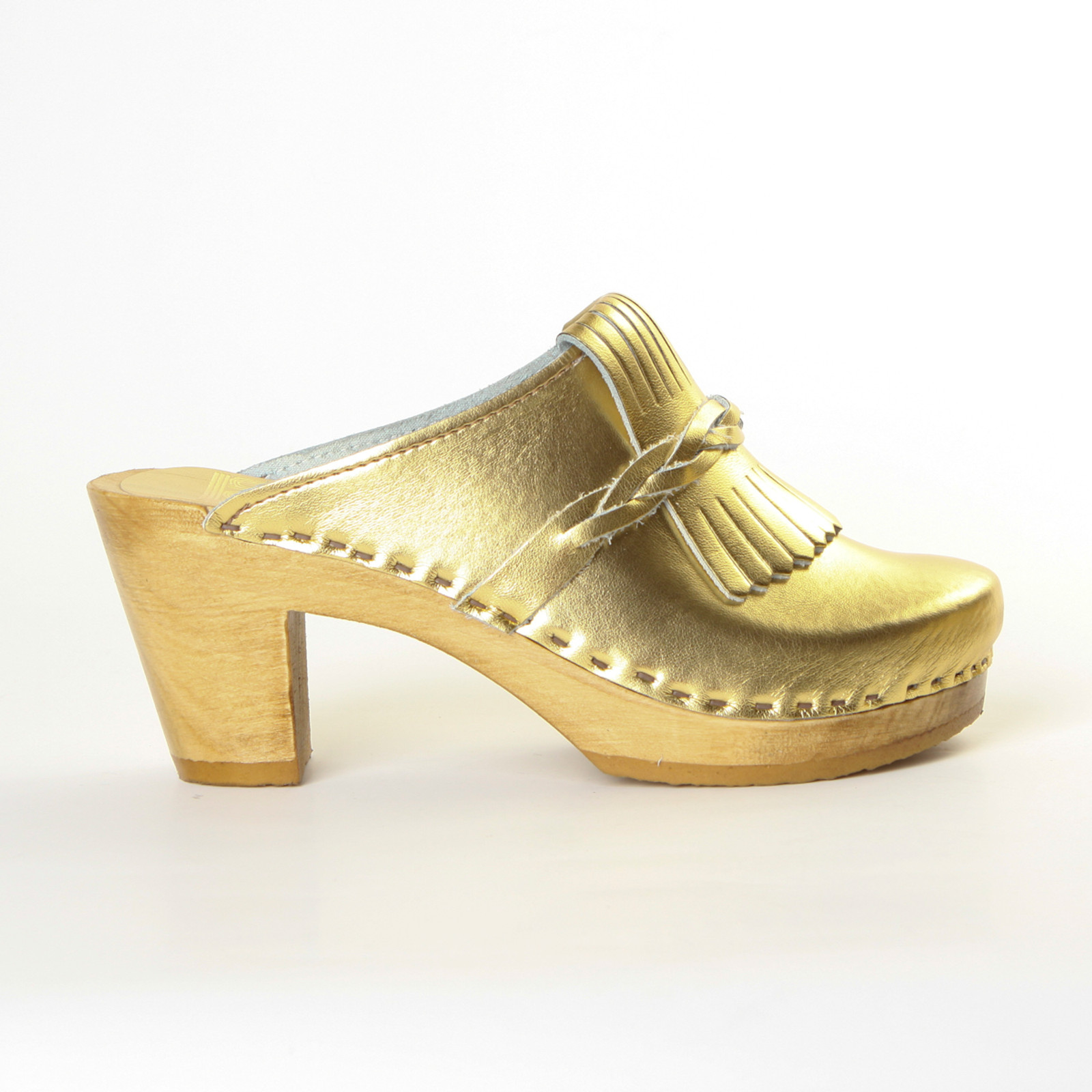 Gold Metallic Leather with Brown Base