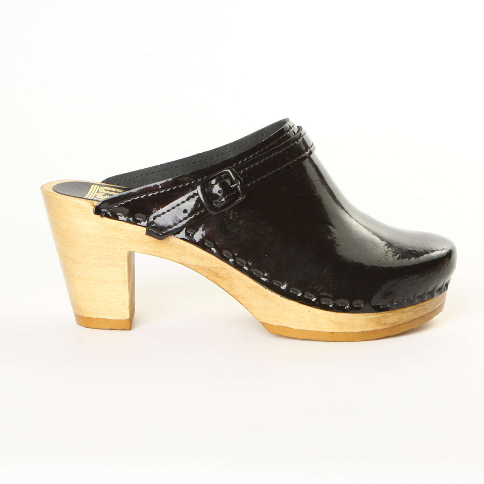 Black Patent Leather with Brown Base.