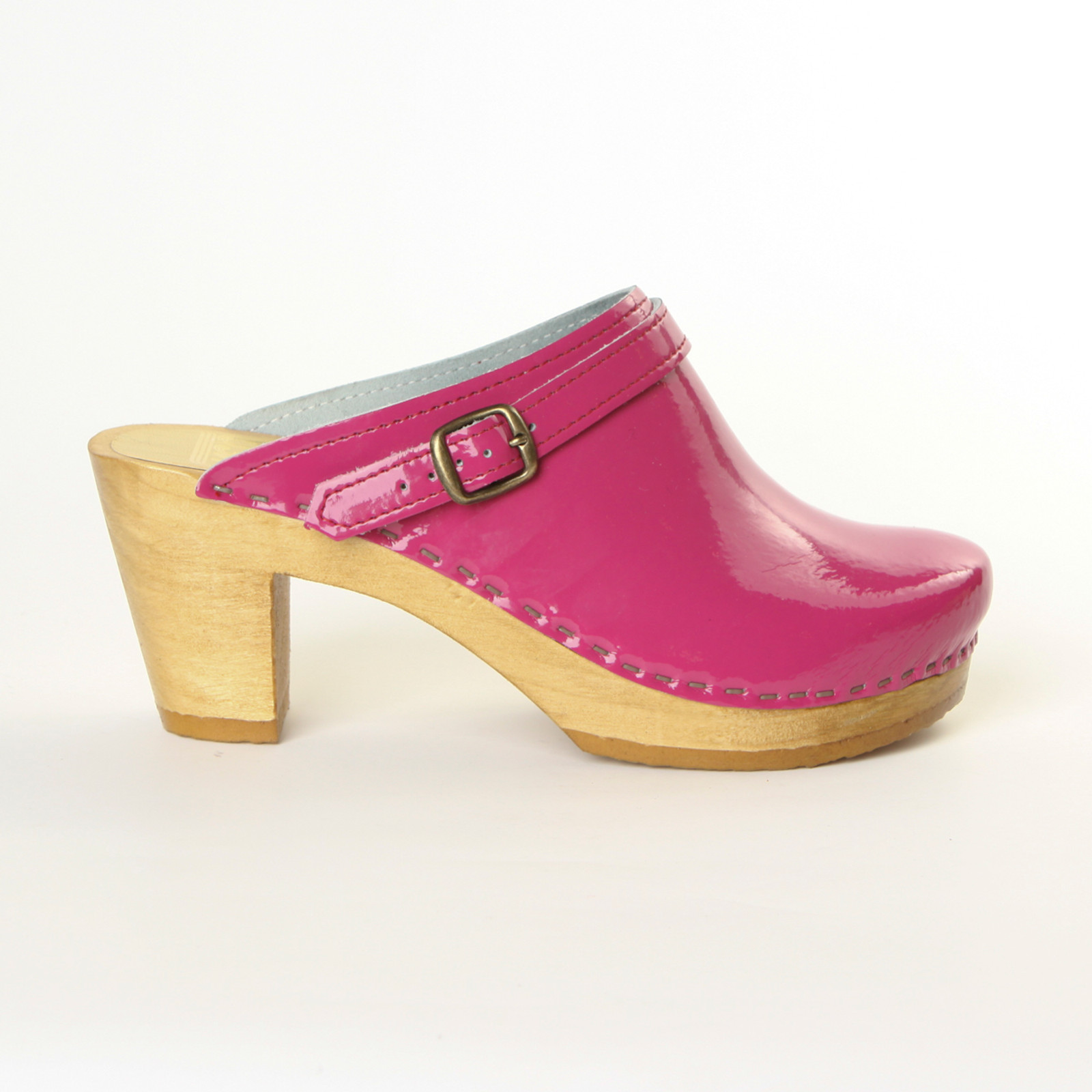 Magenta Patent Leather with Brown Base.