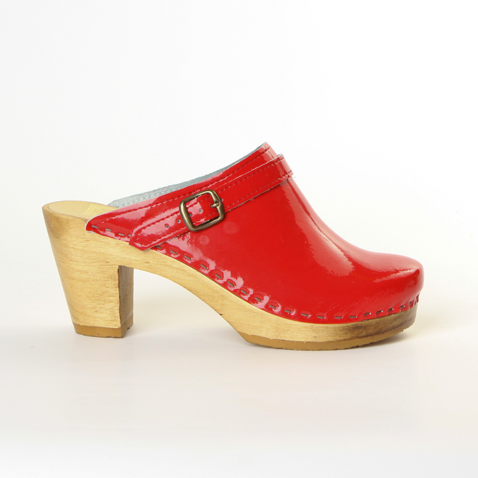 Red Patent Leather with Brown Base.