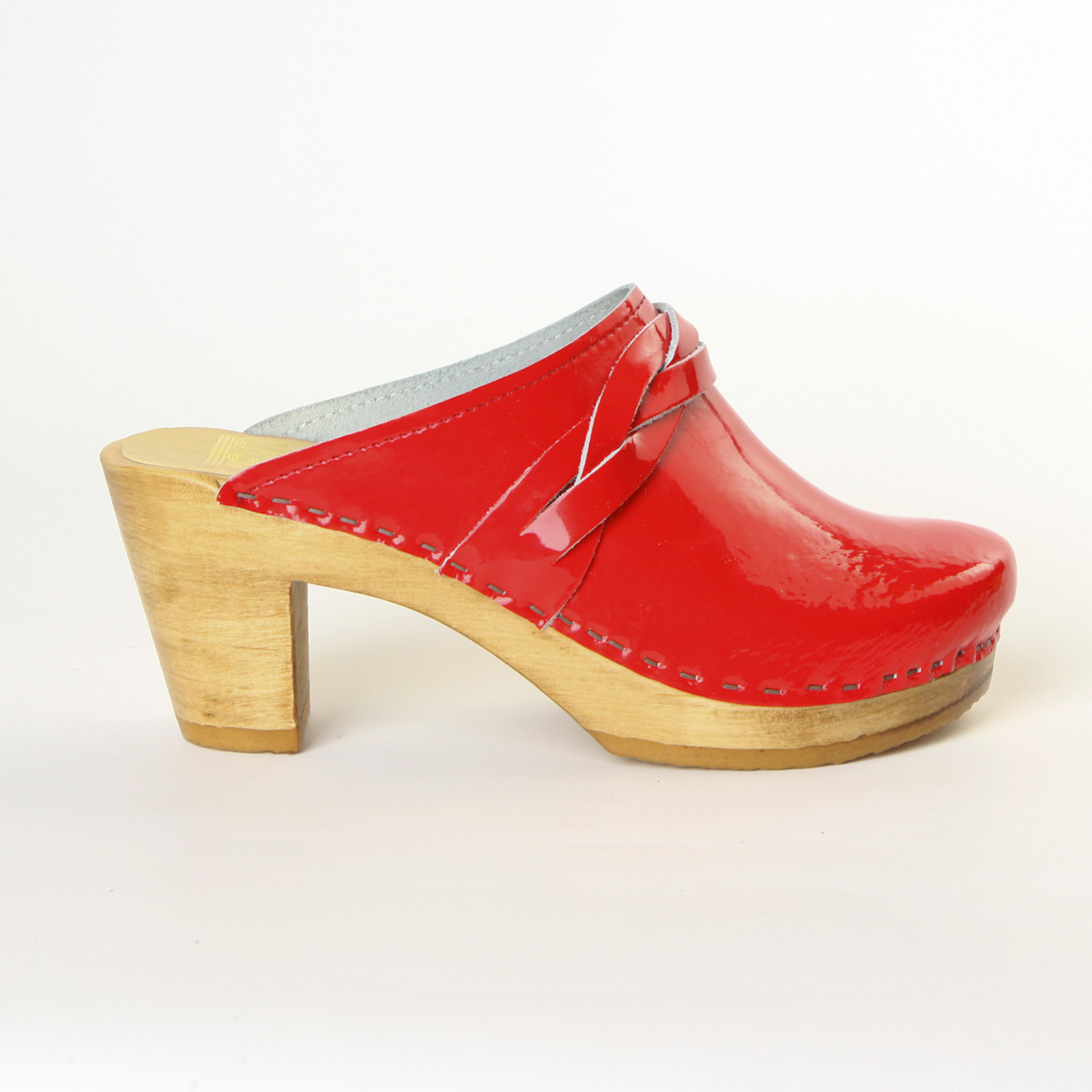 Red Patent Leather with Brown Base