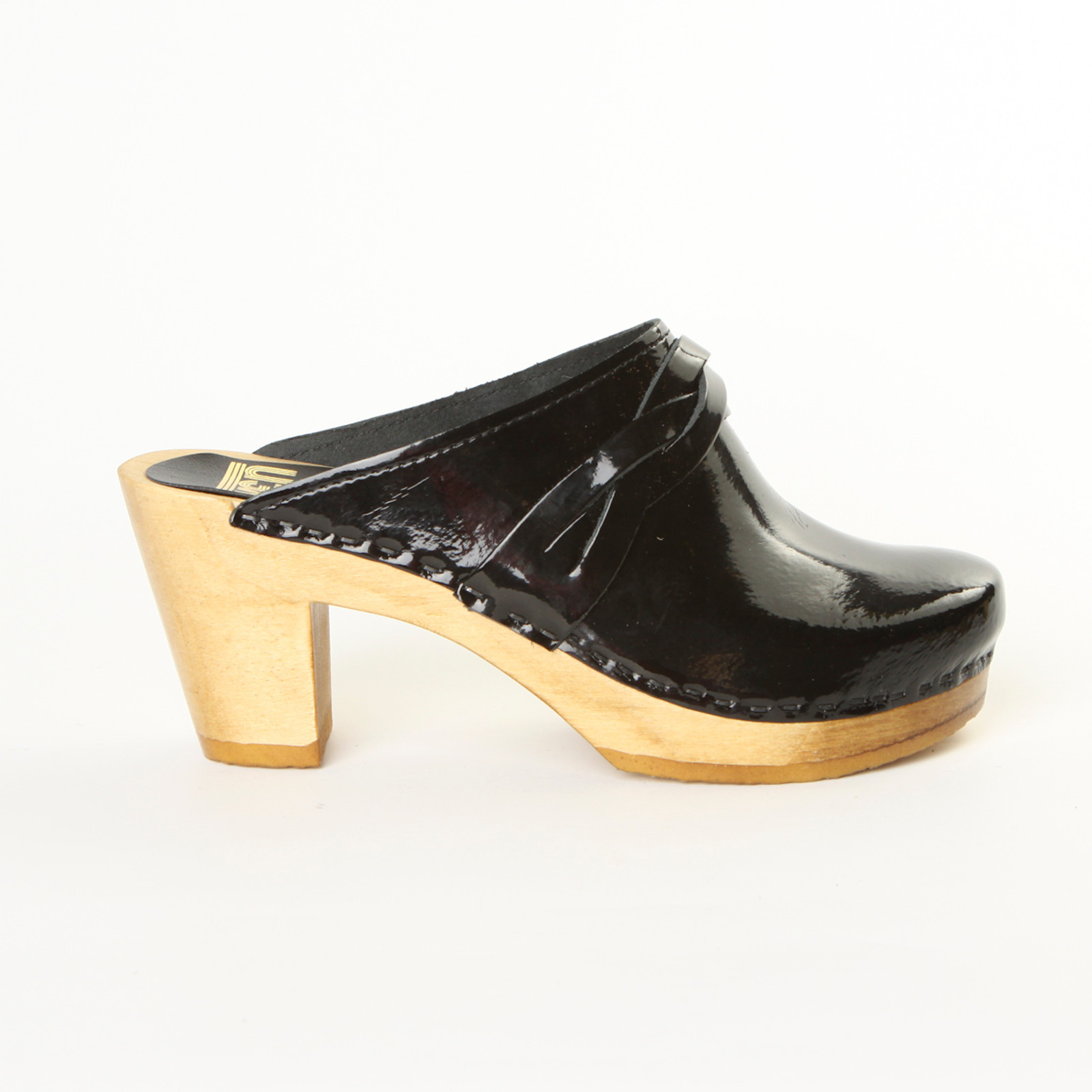 Black Patent Leather with Brown Base