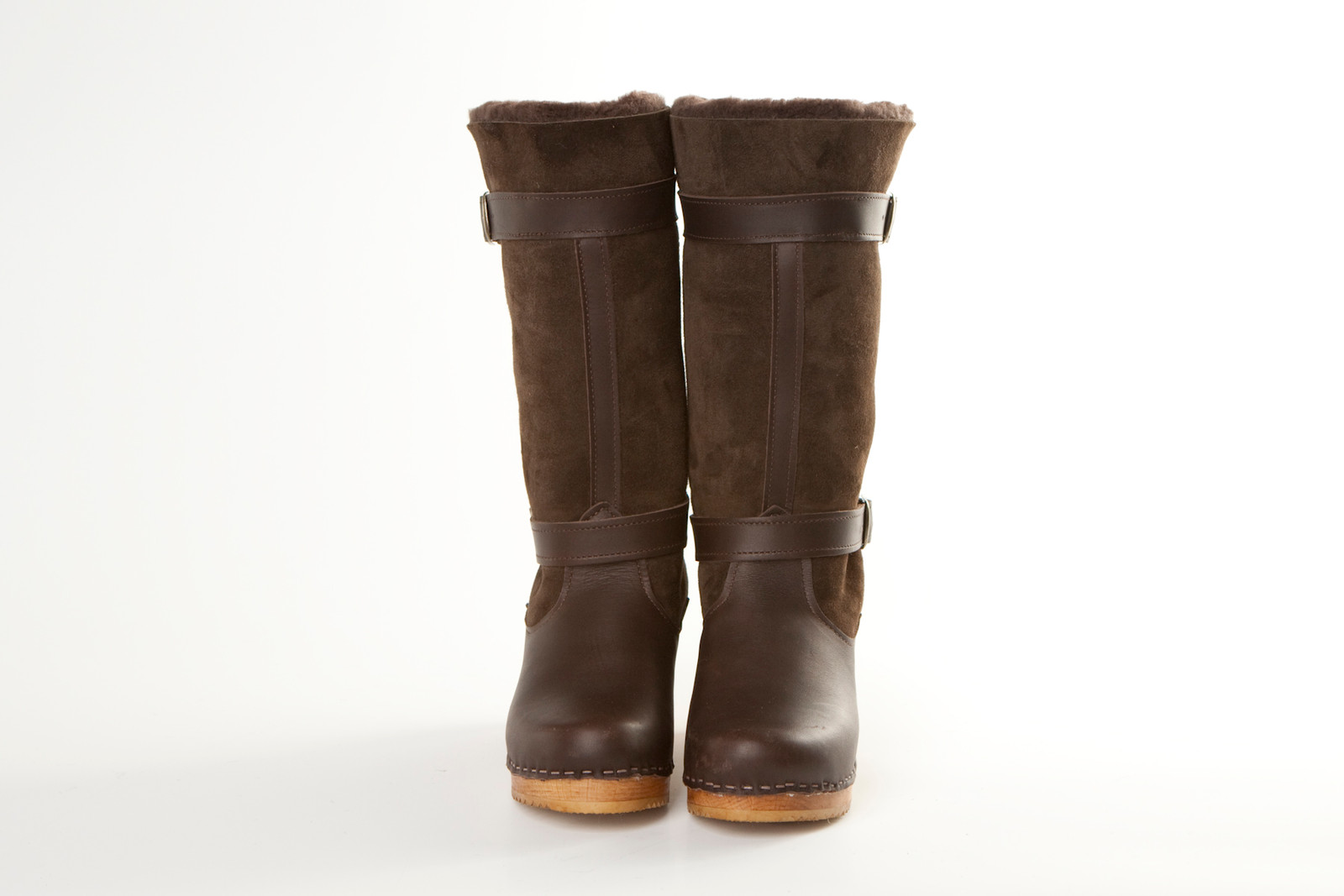"""11"""" Clog Boots - Double Straps  - Mid Heel"""