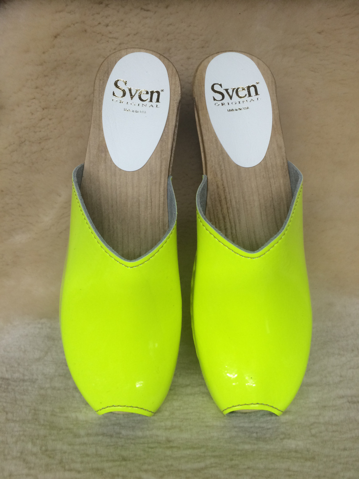 Peep Toe Clogs - Neon Yellow - High Heels