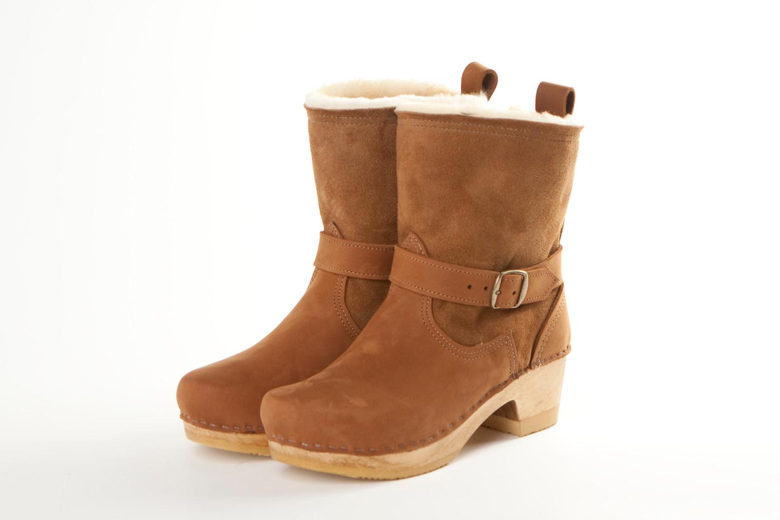"7"" Shearling Clog Booties - Mid Heels"