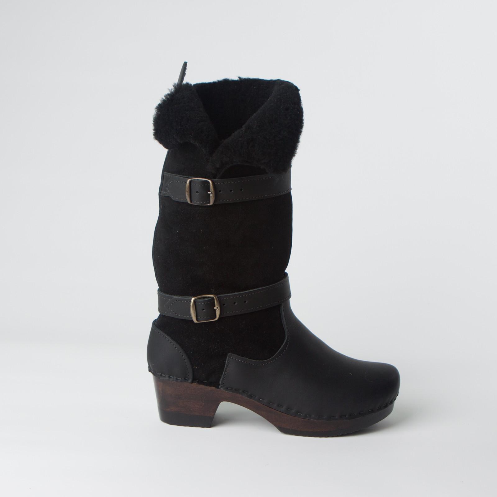 """11"""" Side Slit Clog Boots - Mid Heels"""