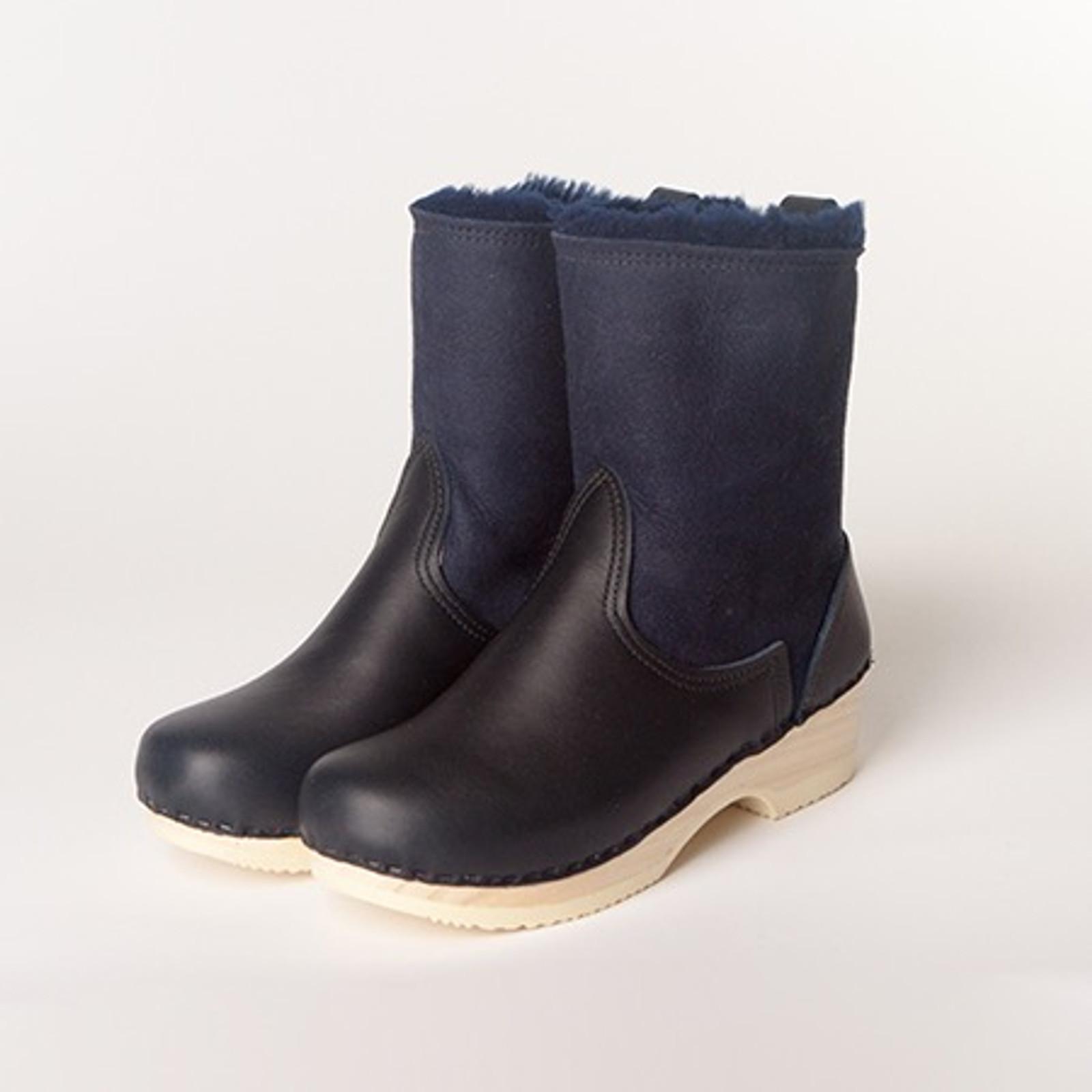 """7"""" Clog Booties - Navy Shearling -  Low Heel"""